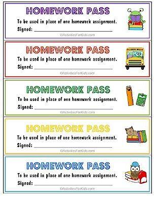 Printable homework pass. Teachers can print out a page of homework passes to hand out to their students. Very cute design, 5 print pe...