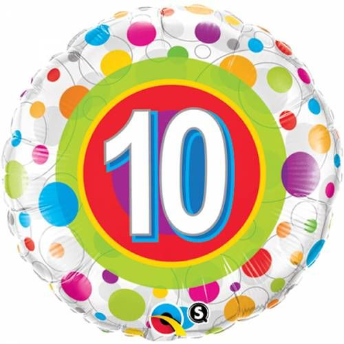 Folieballon 10e Verjaardag met stippen