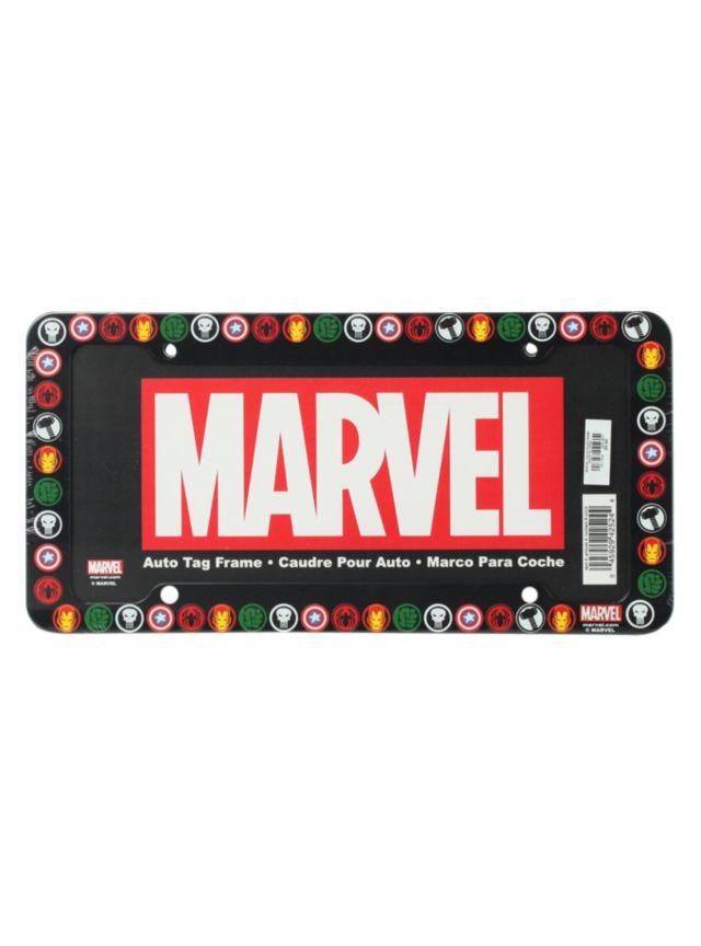 License plate frame with a Marvel superhero logos design.