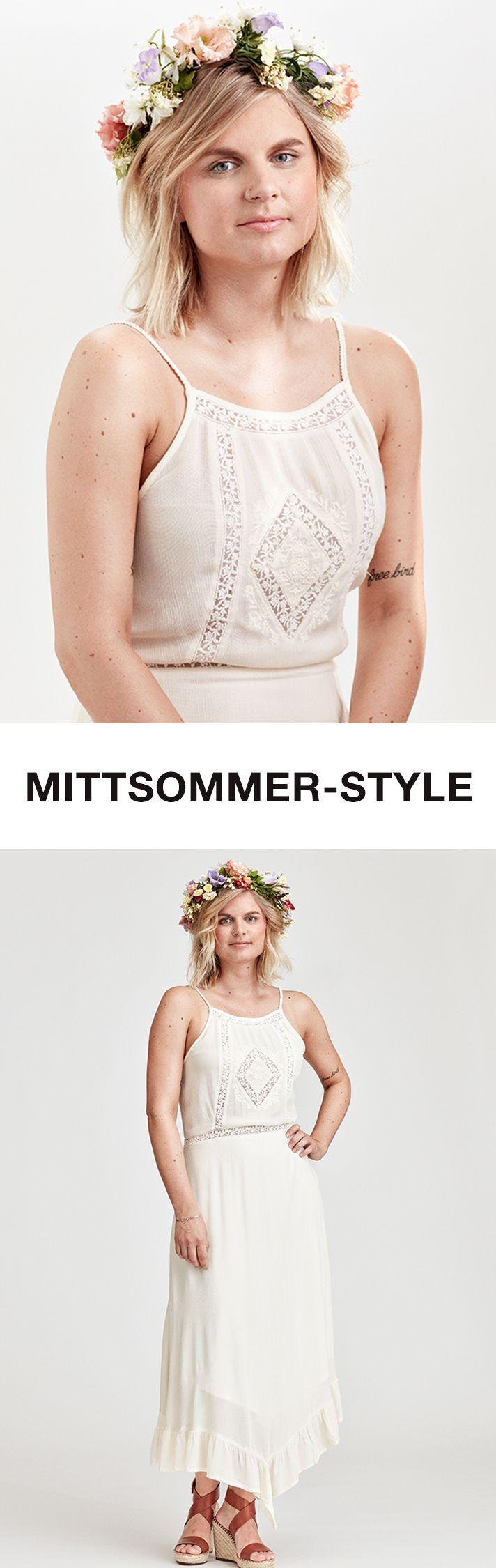 Hach, bei diesem Spitzen-Kleid denken wir sofort an den schwedischen Sommer! Wie du diesen romantischen Mittsommer-Traum stylst, erfährst du von Siina im Editorial. https://www.zalando.de/editorial-damen/inspiration/we-love-weisses-spitzenkleid/