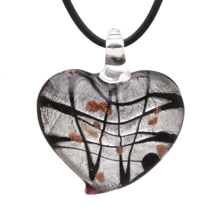 Designer Murano Inspired Glass - Black and Silver Art Deco - Heart Pendant Necklace Set - Fashion Interchangeable Jewelry - Hypoallergenic - Gift Ready