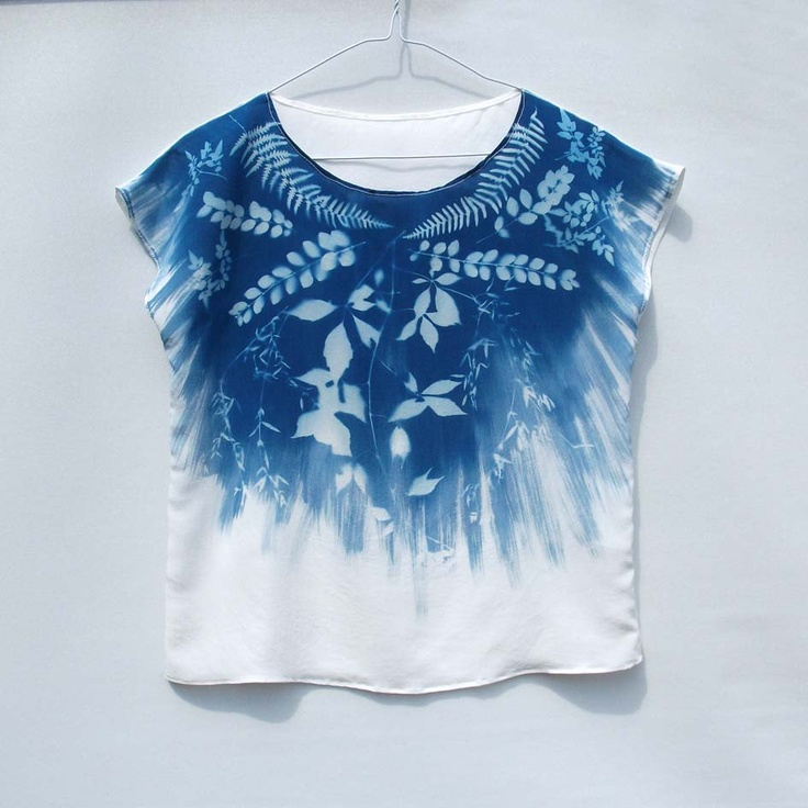 Foliage Print - Cyanotype Tee - Silk Blouse/Top - Blue and White - Floral. £55.00, via Etsy.
