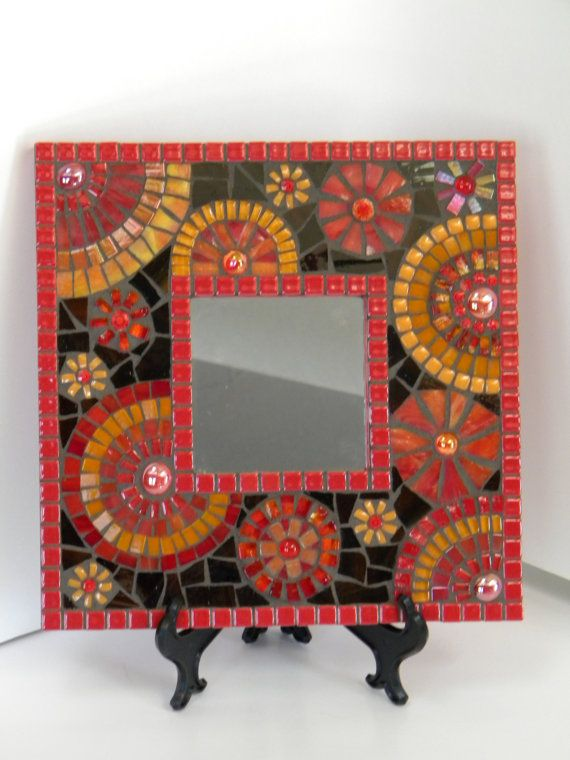 Blazing Red and Orange Square Mosaic Mirror by TheMosartStudio