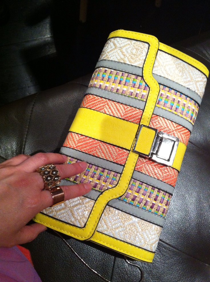 Multi-color clutch bag from Portmans. Gold Rose rings (with stone from Mouche and plain from Rubi)