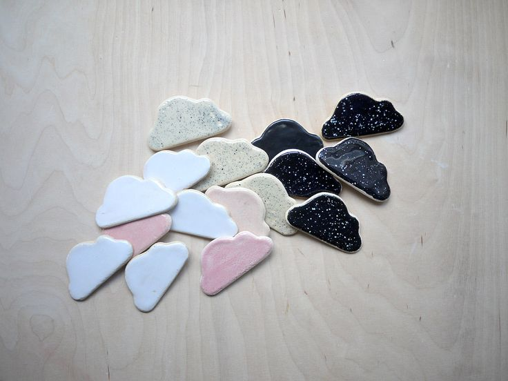 cloud magnets for kids in simple colours: white, pink, black with white dots