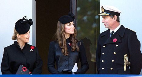 Sophie, Countess of Wessex, Kate Middleton and Vice Admiral Sir Timothy Laurence attend Remembrance Sunday at the Cenotaph on Whitehall on N...