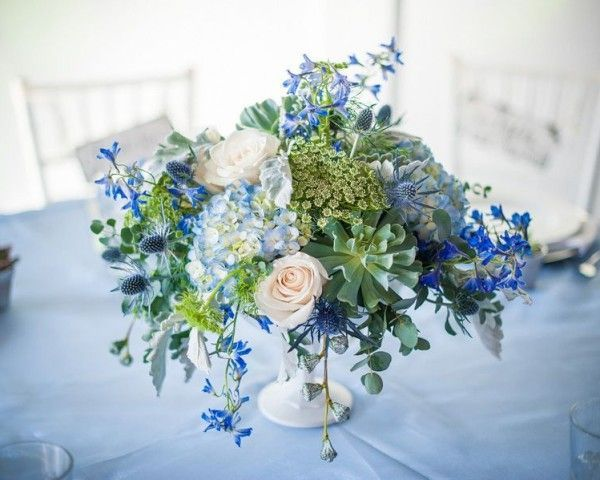 Image Result For Floral Arrangement With Blue Flowers For Long Table Weddingarrangementtablewhite White Flower Arrangements Blue Flower Centerpieces
