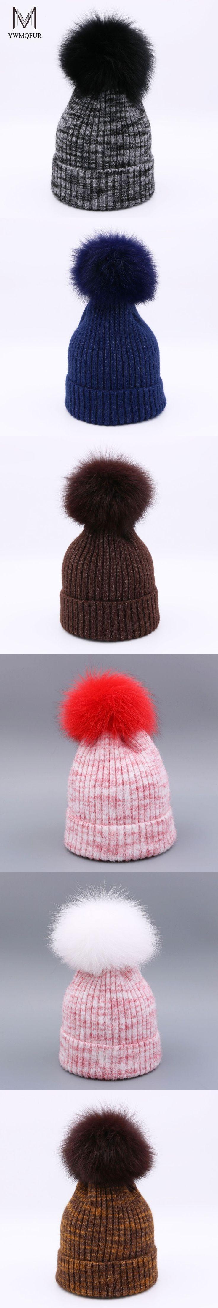 YWMQFUR Winter Wool Fur Beanies Female Warm Knitted Hats Genuine Natural Fox Fur Wool Hat Fashion Women Pompon Caps gorros H110