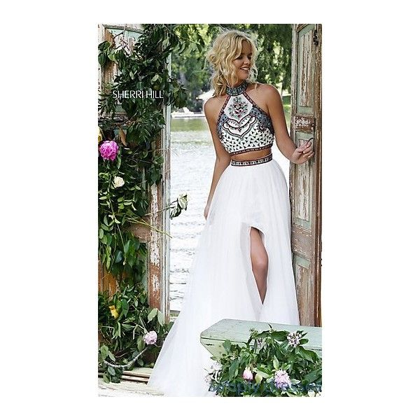 Dresses, Formal, Prom Dresses, Evening Wear: Sherri Hill Two Piece... ($550) ❤ liked on Polyvore featuring dresses, embroidery dresses, homecoming dresses, formal dresses, embroidered prom dress and 2 piece dress