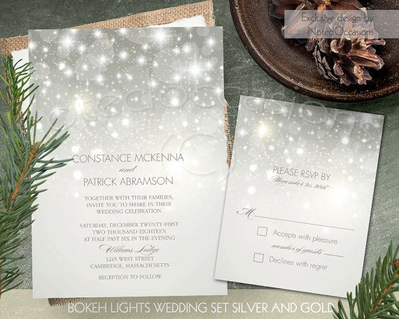 Winter Wedding Invitation Suite Printable Silver Bokeh Invite Falling Snow Sparkles Glitter Template The Pros