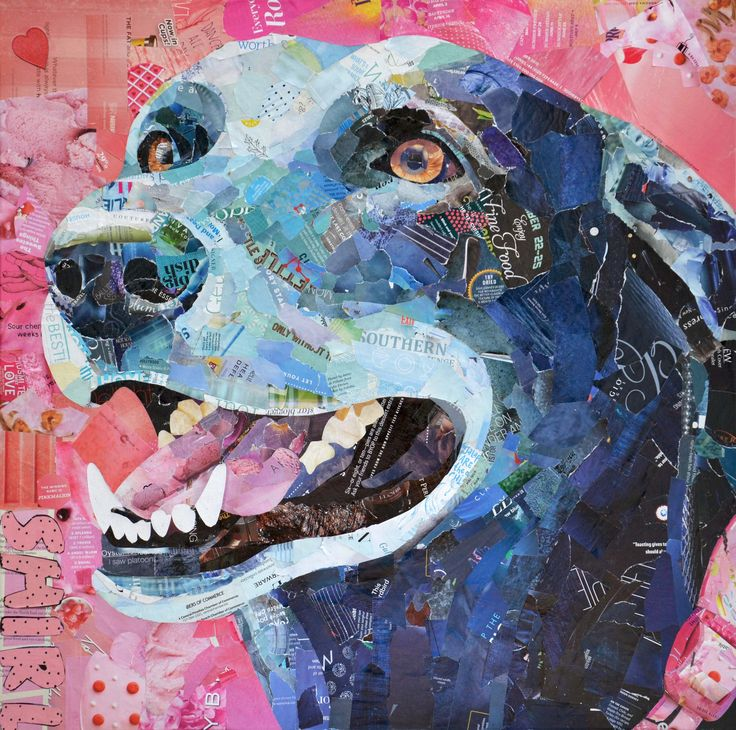 Recyled paper dog collage