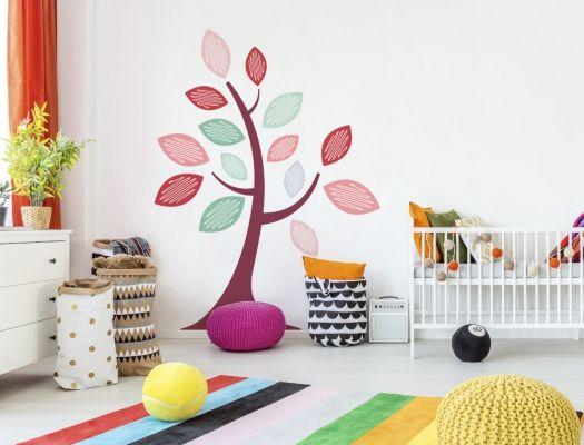 Kinderzimmer Baum mit Mädchenfarben als coole Wandtattoo