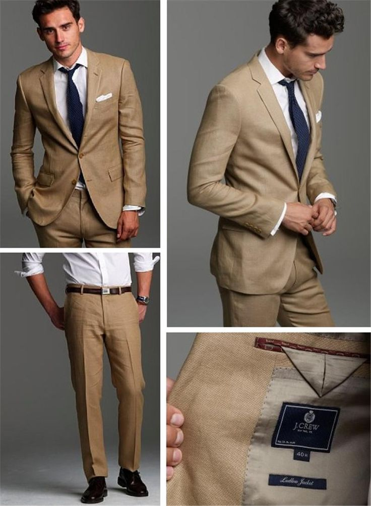 91abc680678 Handsome Groom Suits Beige Wedding Suits For Men Two Pieces Men Suit Groom  Wedding Suits Jacket+Pants Best Mens Suits Dinner Jackets From Huifangzou