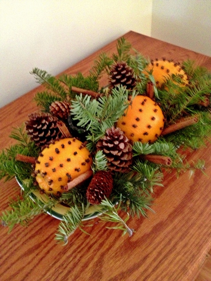 Pomanders (oranges studded with whole cloves), balsam sprigs, cinnamon sticks, and pine cones...have several of these around the house for Christmas, and the fragrance is so nice.