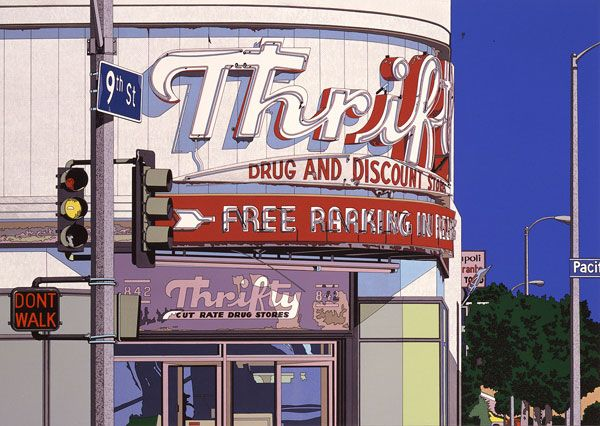 """Thrifty Cut Rate Drug Stores"", (1985), Acrylic on Canvas - Illustration by Eizin Suzuki (b. 1948, Japan)."
