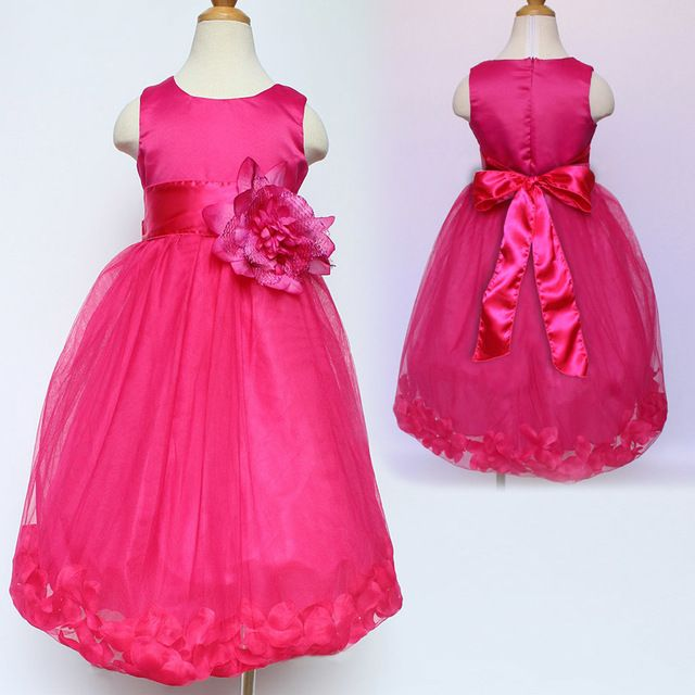 Check lastest price Hot Sale Wedding Pageant Flower Petals Girl Dress With Bow Tie Sash Rose Children Kids Infant Girls Party Birthday Dress 2-12Y just only $12.95 - 15.82 with free shipping worldwide  #girlsclothing Plese click on picture to see our special price for you
