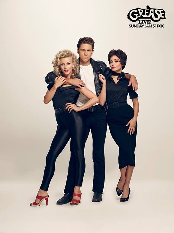 Julianne Hough, Aaron Tveit and Vanessa Hudgens 70s style for Grease Live cast Photoshoot