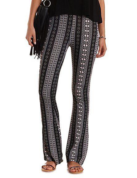 Tribal Print Knit Flare Pants: Charlotte Russe #print #pants