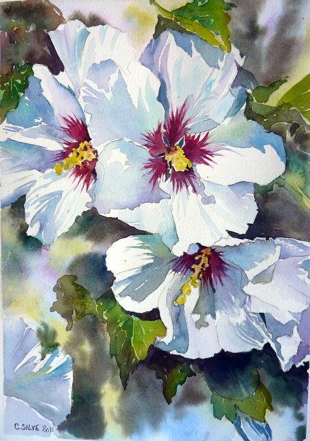 Les Hibiscus blancs - 46,3 cm - 37,1 cm - Vendu - Expo 2011