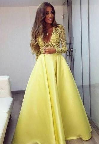 0edd4b576f3bd Stunning Yellow Long Sleeve 2018 Prom Dress V-Neck Lace in 2019 ...