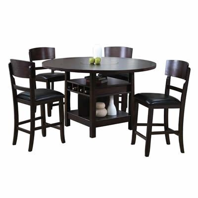 The Conner Espresso Counter Height Dining Set features a pedestal style table and 4 side chairs in an espresso finish.