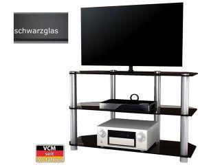 VCM TV-Möbel Bigona XXL Schwarzglas großes Aluminium TV Rack