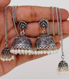 Buy Oxidezed Silver Pearl Drop Kashmiri Jhumki jhumka online
