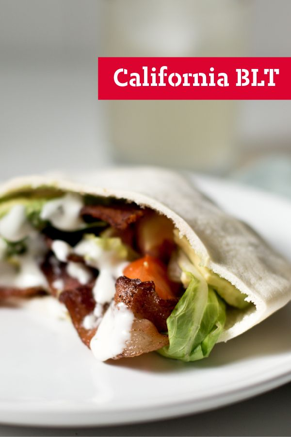 California BLT – Ranch dressing, avocados, and pita bread add California flair to a classic BLT sandwich recipe. Ready in just 10 minutes.