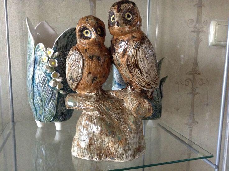 """Совы"", 2014 #owls  #ceramics #IrinaPirogova #prostyeludi"