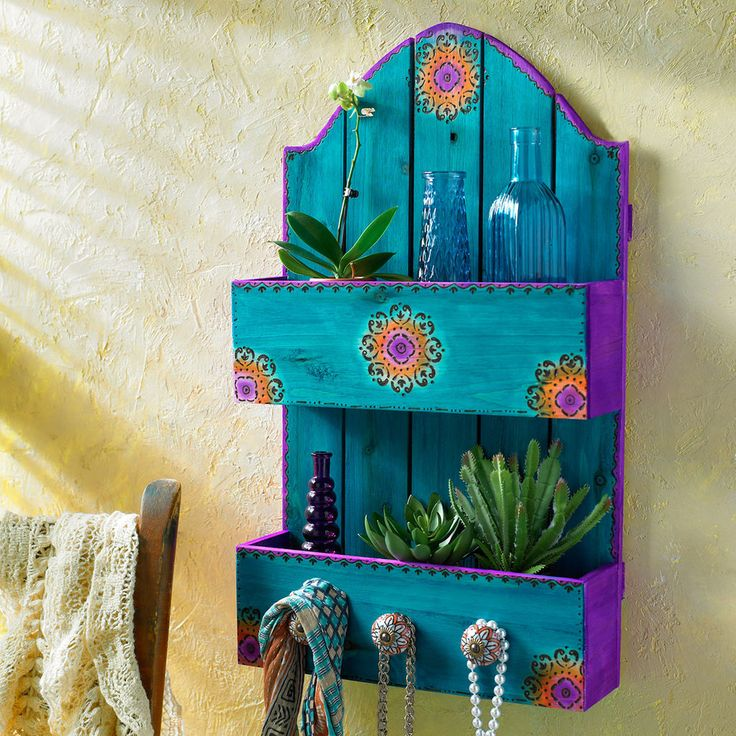Add bohemian style to your home decor when you make this Craft It Boho Shelf. What a colorful way to organize!