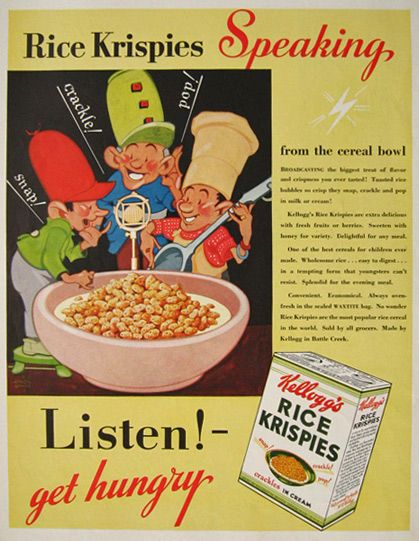 1933 Kellogg's Rice Krispies Cereal Ad ~ Listen! Get Hungry