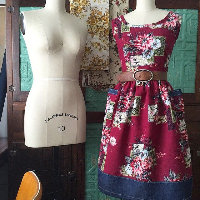Fresh of my machine is this gorgeous frock for Emma. It's one of a kind, made from soft, warm, vintage wool-cotton blend fabric, with contrasting denim back bodice, skirt border and pocket trims...and finished with lots of little zig zag stitched details.  { Gertrude Made } #vintagefabric #vintagefloral #teadress #beautiful  www.gertrudemade.com
