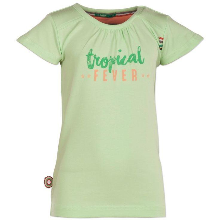 Groene meisjes tshirt Fever Dream van het kinderkledingmerk 4funkyflavours.  Deze tshirt uit de reeks Tropical fever heeft korte mouwen. De shirt heeft de tekst : Tropical Fever