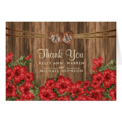 #wedding #thankyoucards - #Monogram Wood Hearts with Red Lily Flowers Card