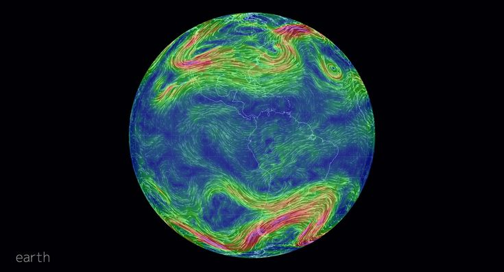 This is real time image of wind currents across the globe. You can grab the image and spin it to see where you live, and you can zoom in. Zooming gives you amazingly beautiful images of the wind!