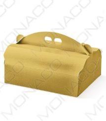 Krabice na zákusky 220x170, v.105mm (kůže zlatá) 20 ks/bal | Monaco Int. s.r.o.