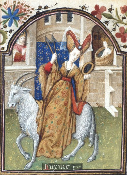 British Library, Yates Thompson 3, detail of f. 172v. Book of Hours, Use of Rome ('The Dunois Hours'). Paris, c. 1440 - c. 1450 (after 1436). 'Lust'.