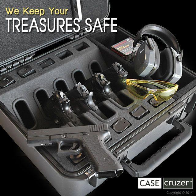 Shooting Range Universal 5 Pack Handgun Case.  Lockable - airtight - watertight - lifetime warranty. http://www.casecruzer.com/gun-cases/shooting-range/qdsr-handgun-5pack.html