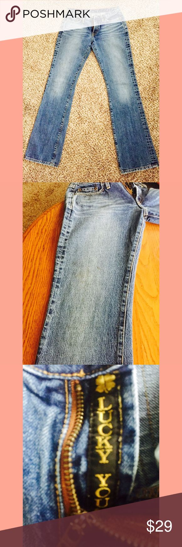 Lucky brand women's dungarees size 6/28 Womens Lucky Brand dungarees Size 6/28.  These jeans are pre-owned.  There is a stain on the left leg (see pics) and the Lucky patch above the right pocket is torn.  Other than that these jeans have been my absolute favorite!  Thank you for looking! Lucky Brand Jeans Straight Leg