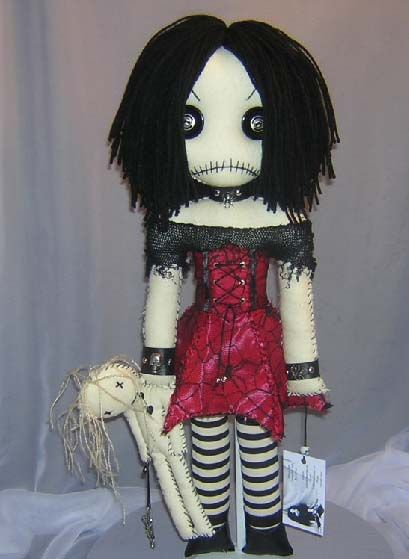 Creepy Goth Girl Rag Doll...Spiders And Voodoo! - TOYS, DOLLS AND PLAYTHINGS