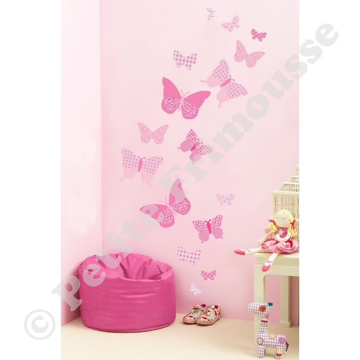 Stickers muraux papillons rose