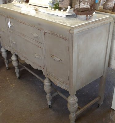 marble top buffet table Shabby Chic Chalk Painted buffet tables | French Linen Chalk Paint  marble top buffet table