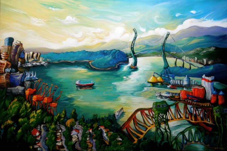 """Vancouver Heights Morning Painting by local artist Laura Zerebeski, """"Some early mornings make Vancouver seem like the most magical place on earth. There's always that moment when the morning mist is dissipating and the day is brightening and everything seems unthreatening and conquerable.""""  #vancouver #heights #morning #painting #port #burrard #inlet #lions #gate #second #narrows #british #columbia #canada  http://www.members.shaw.ca/laurazerebeski/Artgallery_Vancouver.htm"""
