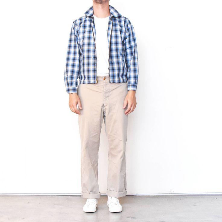 Vintage 1950 50s Blue Black White Plaid Zip Up Slash Pocket Gathered Waist Jacket | Fieldmaster Size M Medium Rockabilly car club jacket by MidNorthMerc on Etsy https://www.etsy.com/listing/562245541/vintage-1950-50s-blue-black-white-plaid