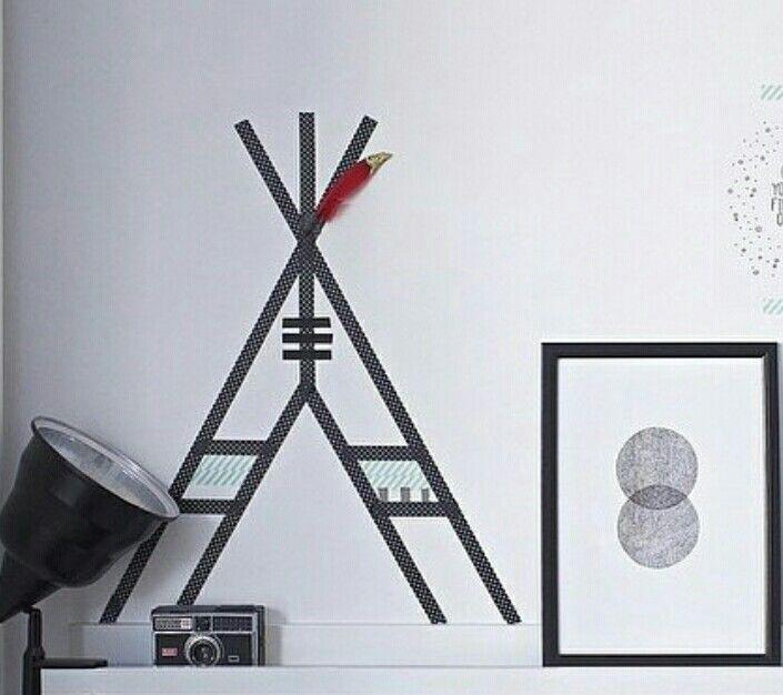 Maskingtape #idee: Maak een tipi op de muur met #washitape - #Teepee - Buy #maskingtape at www.vanmariel.nl - € 2,75