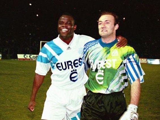 Basile Boli et Fabien Barthez