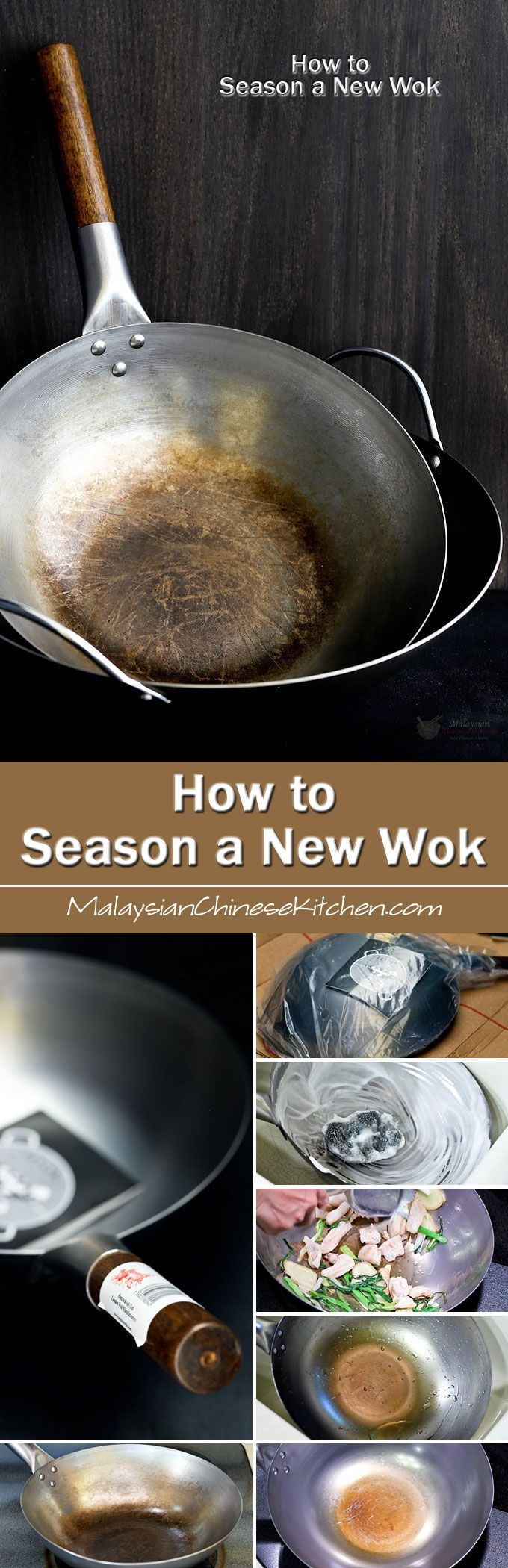 How to Season a New Wok using lard and aromatic herbs and vegetables. High smoking point oil may be used as a substitute. | MalaysianChineseKitchen.com