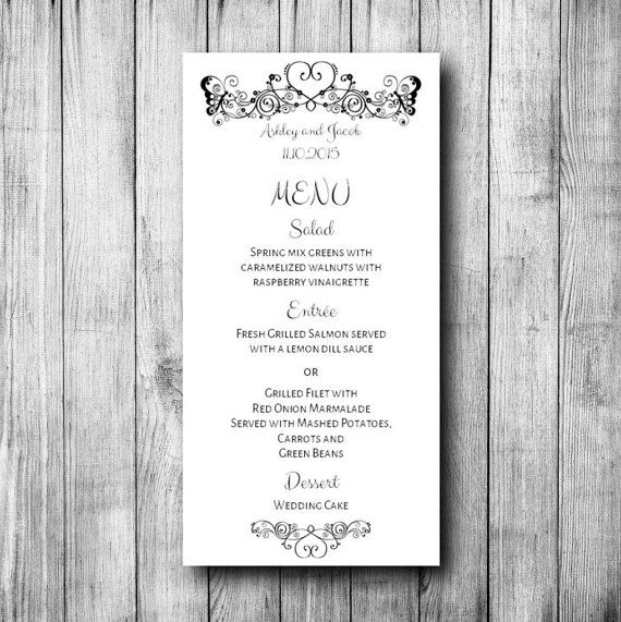 41 best Wedding menu images on Pinterest Menu templates, Place - menu printable template