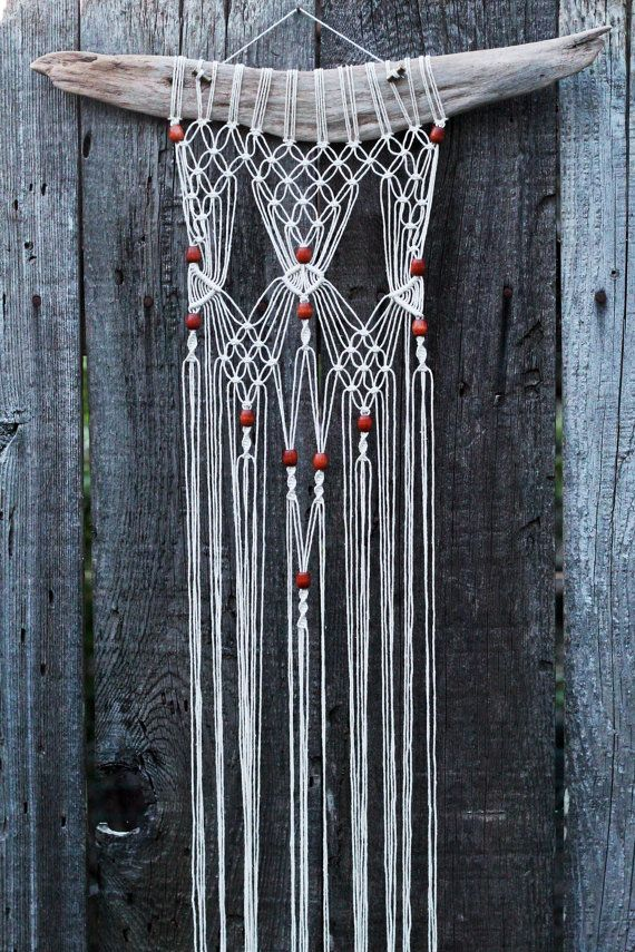 macramé wall hanging on driftwood with wood beads door on macrame wall hanging id=38661