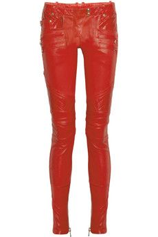 Balmain  Quilted-panel leather skinny pants